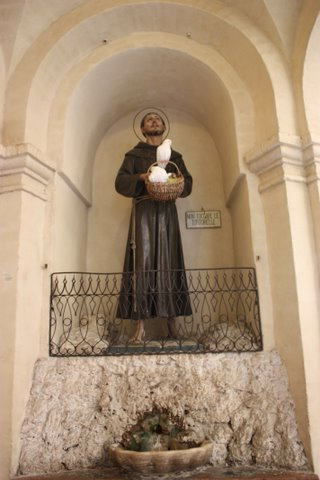 Statue of St Francis in the Basillica of Our Lady,  Assisi